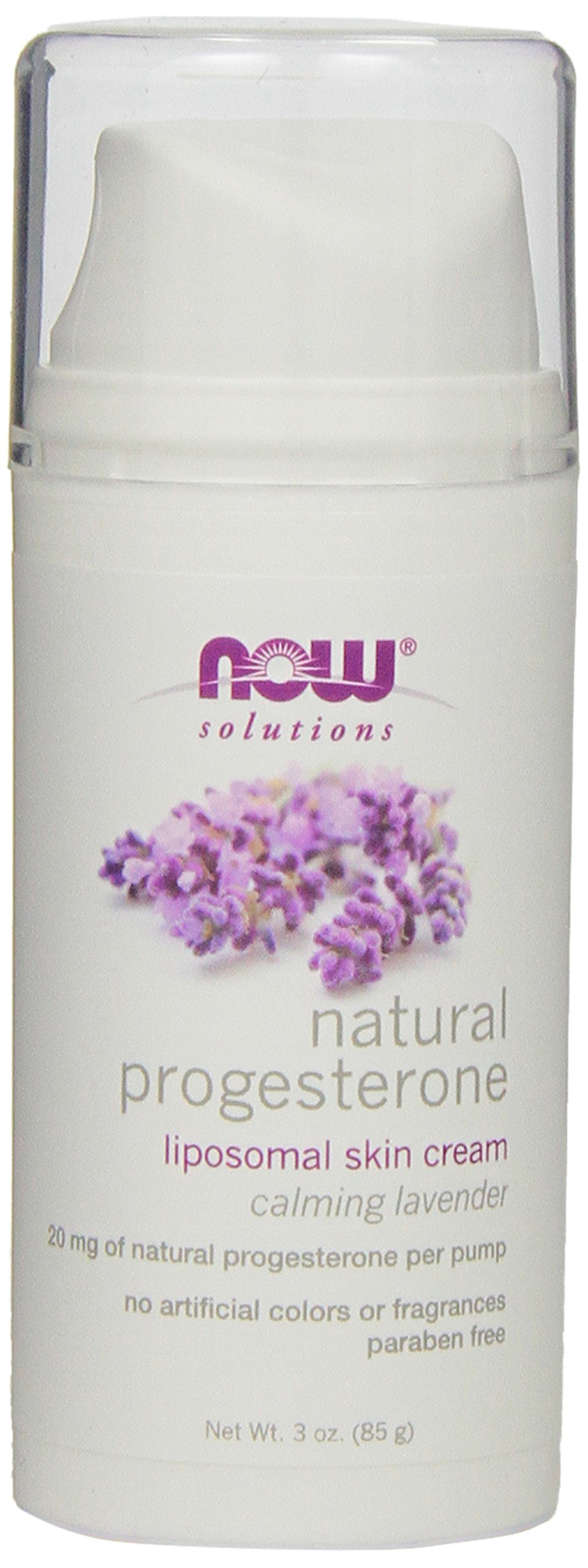 NOW Natural Progesterone Liposomal Skin Cream with Lavender,3-Ounce