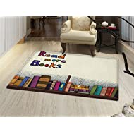 smallbeefly Book Floor Mat for kids Read More Books Quote Printed on Sketch Background with Colorful Books on a Shelf Door Mat Increase Multicolor