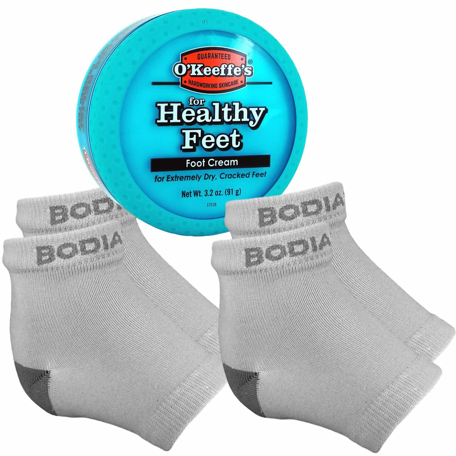 Dry Cracked Heels Repair Bundle with Open Toe Moisturizing Silicone Gel Heel Socks (2 Pairs, Gray) and O'Keeffe's Healthy Feet Cream Jar for Home Foot Skin Care by Bodiance