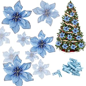 Whaline 24 Pcs Blue Poinsettia Artificial Christmas Flowers with 24 Pack Clips, Glitter Christmas Tree Ornaments Xmas Wedding Party Decor (13 x 13 cm)