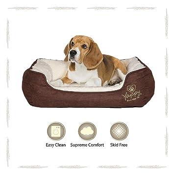 Yappy Roxy gama perro cama: cojín rectangular, cama anidada de perro, gamuza marrón y crema forro polar suave cómodo. Lavable y fácil de limpiar.