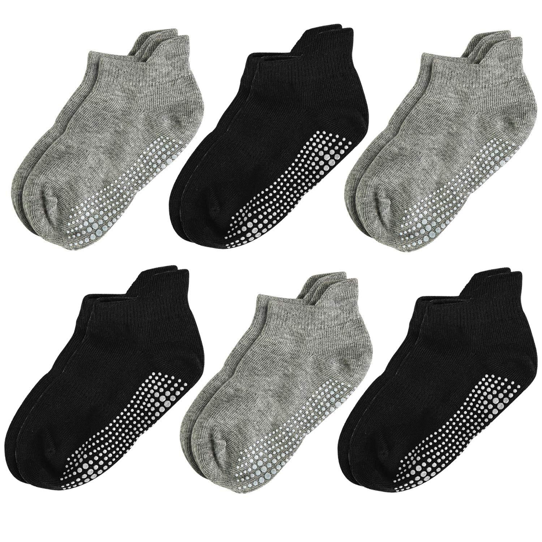 Aminson Kids Boys Girls Active Grip Ankle Low Cut Athletic Socks - Anti Non Skid Slip Slipper Crew Socks 6-12 Pack