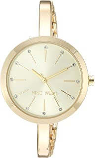 Nine West Womens Crystal Accented Bangle Watch