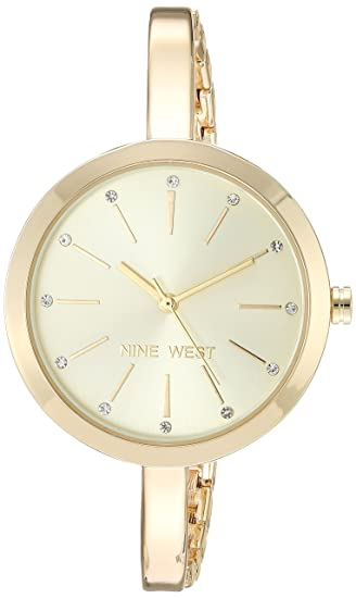 ad677d6d13a Nine West - Reloj de pulsera para mujer con detalles de vidrio, Dorado