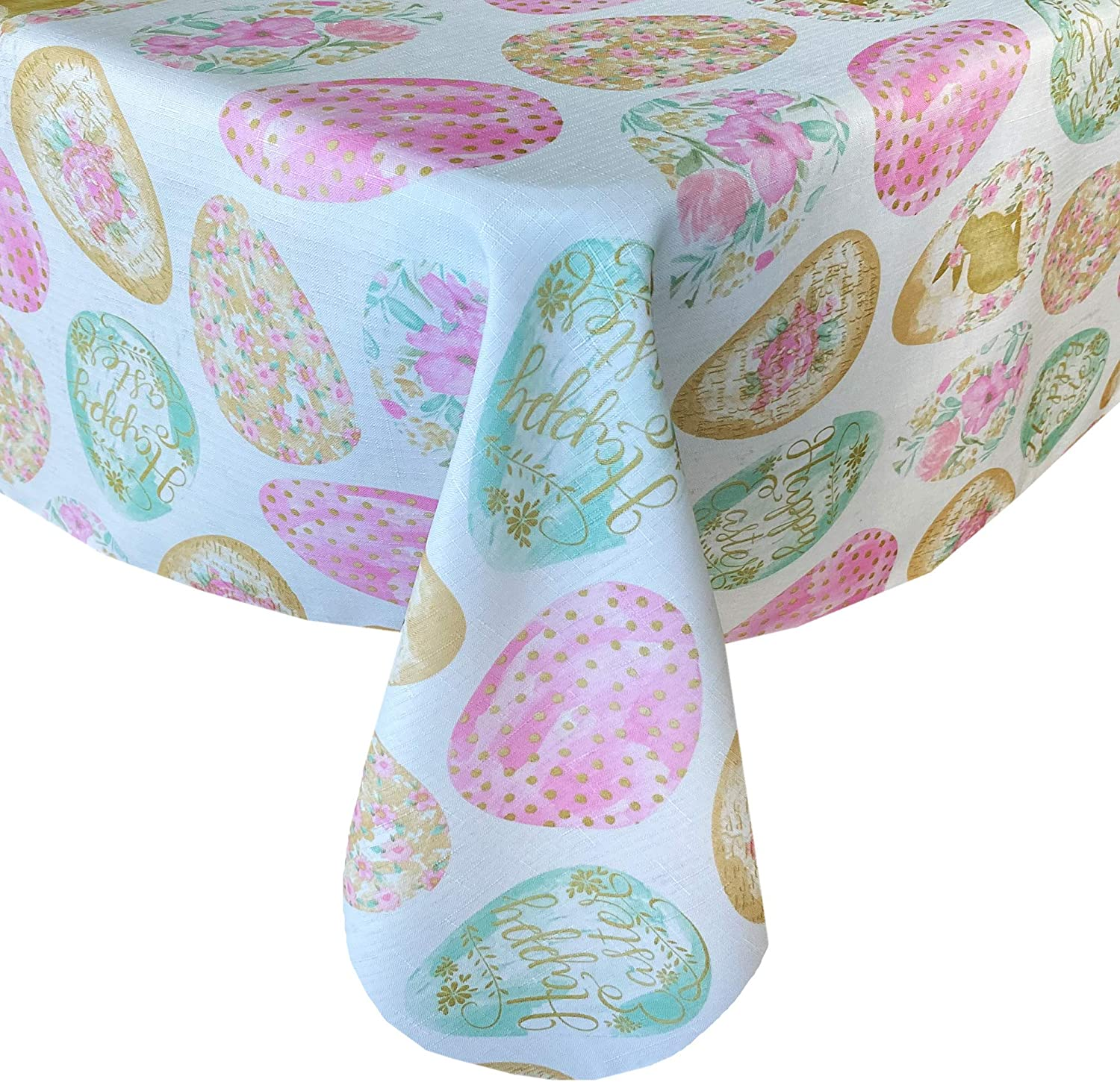 Newbridge Easter Egg Delight Easter And Spring Fabric Tablecloth Happy Easter Bunny Rabbit Decorated Egg Print Easy Care Stain Resistant Fabric Tablecloth 52 X 52 Square Home Kitchen
