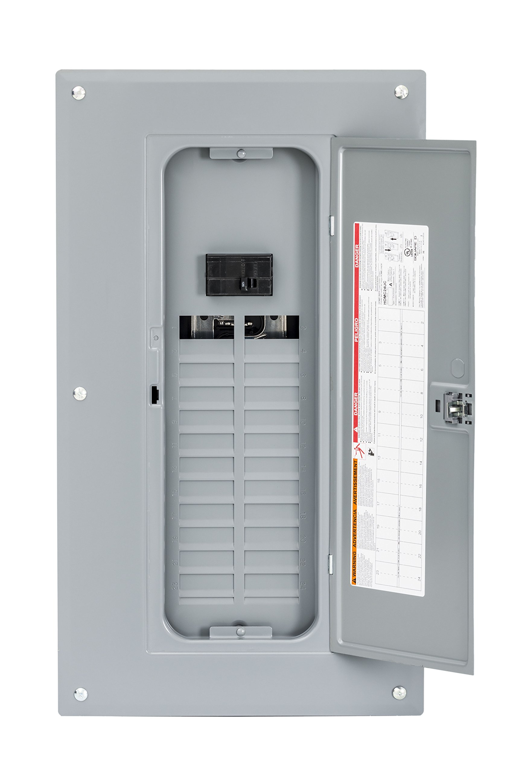 Square D by Schneider Electric HOM2448M125PC Homeline 125 Amp 24-Space 48-Circuit Indoor Main Breaker Load Center with Cover (Plug-on Neutral Ready),