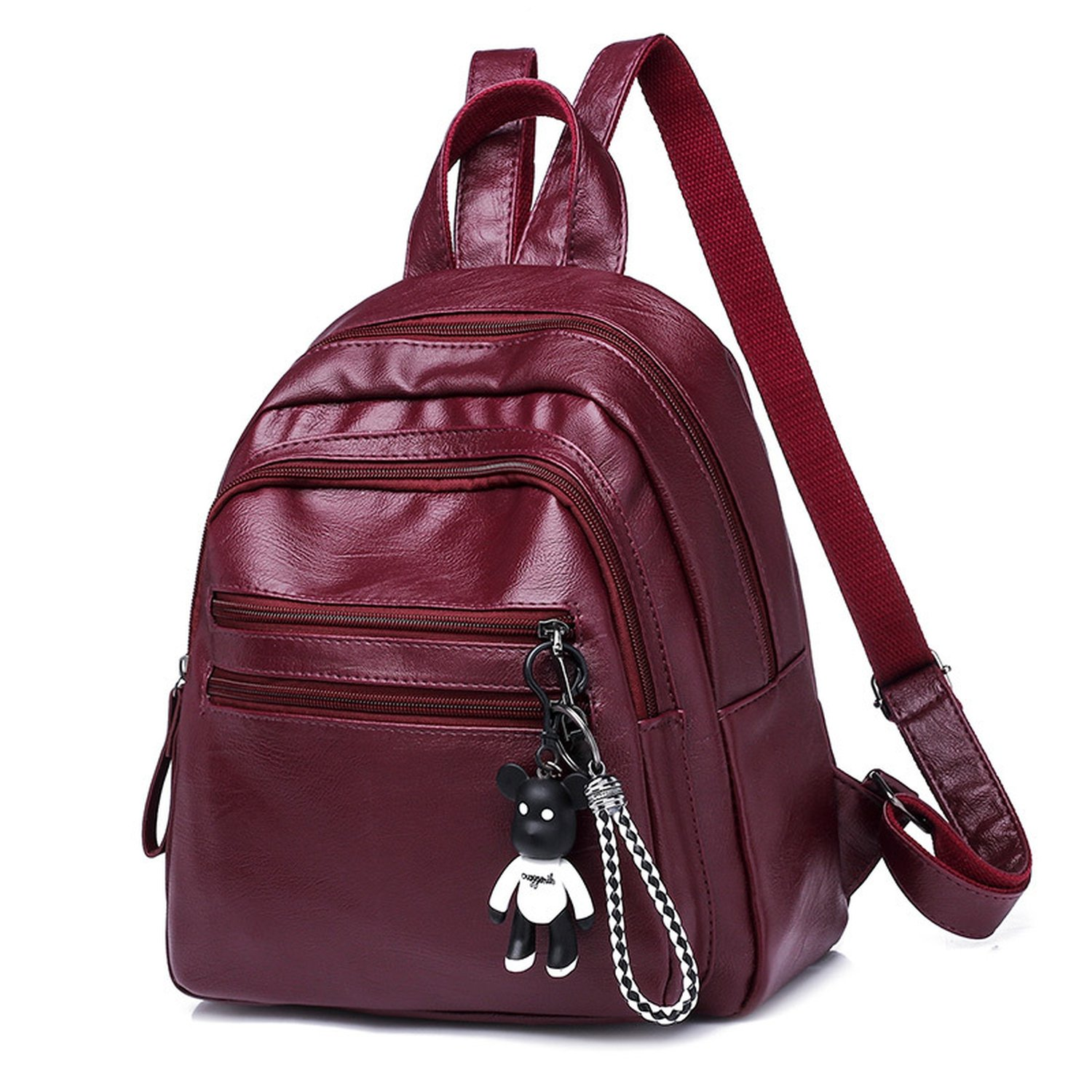 Leather Backpack for Girls, Waterproof Fashion Backpack, Casual Daypack,Red wine by Toping Fine basic-multipurpose-backpacks (Image #1)