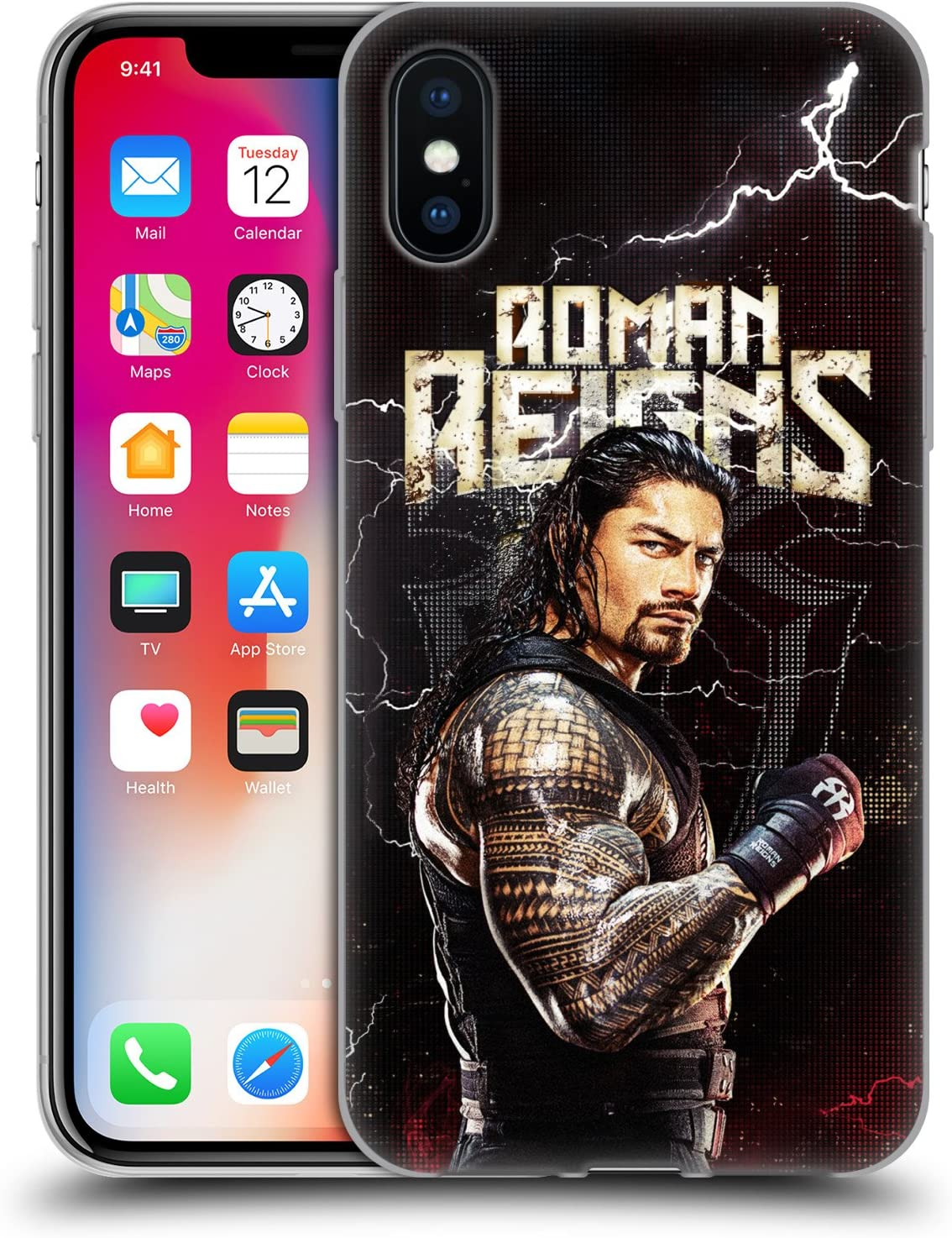Head Case Designs Officially Licensed WWE Roman Reigns Superstars Soft Gel Case Compatible with Apple iPhone X/iPhone Xs