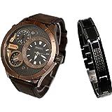 Only The Brave Mens' - orologio da uomo con grande quadrante che dispone di triplo display e di bracciale catena dorato