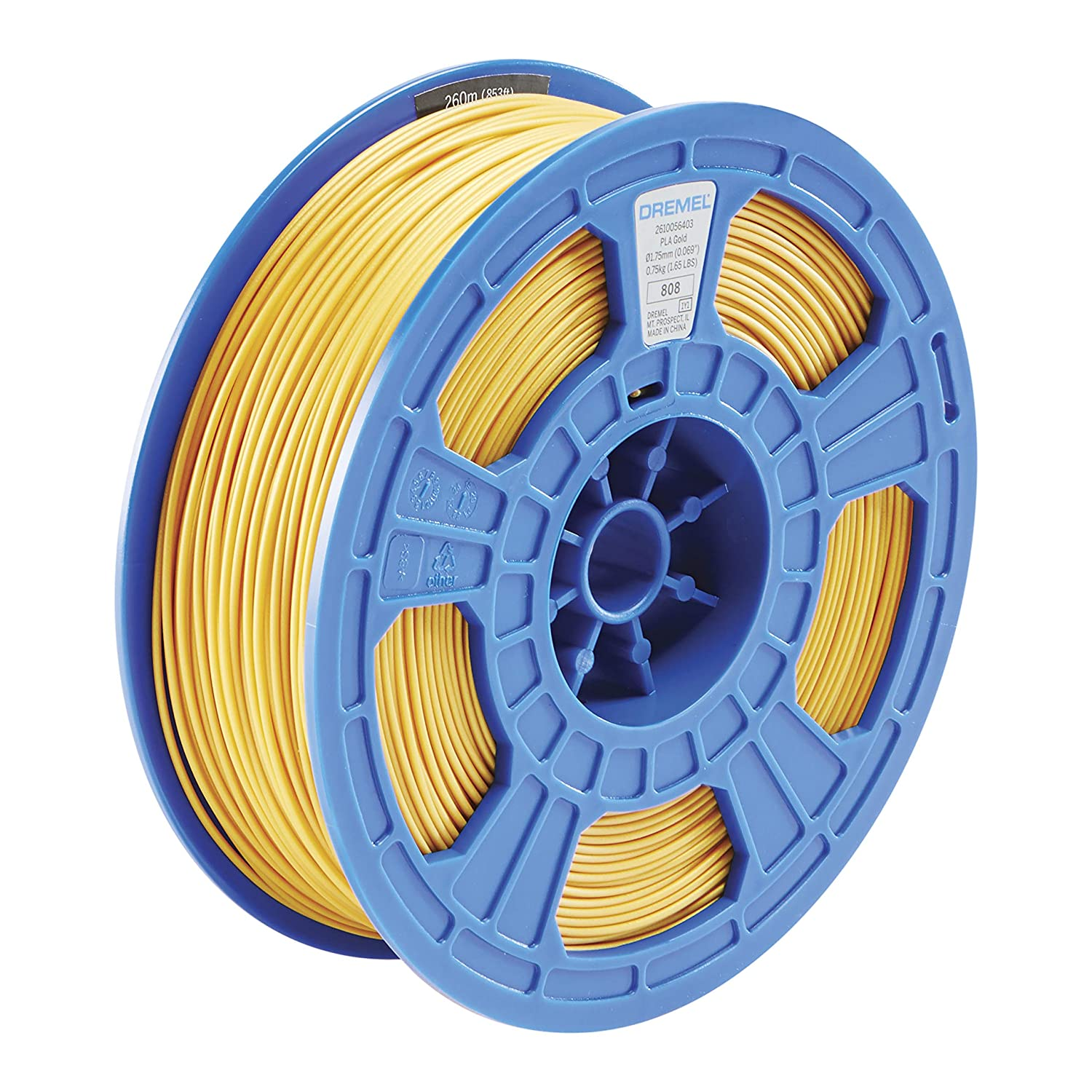 Dremel DigiLab PLA-GOL-01 3D Printer Filament, 1.75 mm Diameter, 0.75 kg Spool Weight, Gold, RFID Enabled, New Formula and 50 Percent More per Spool