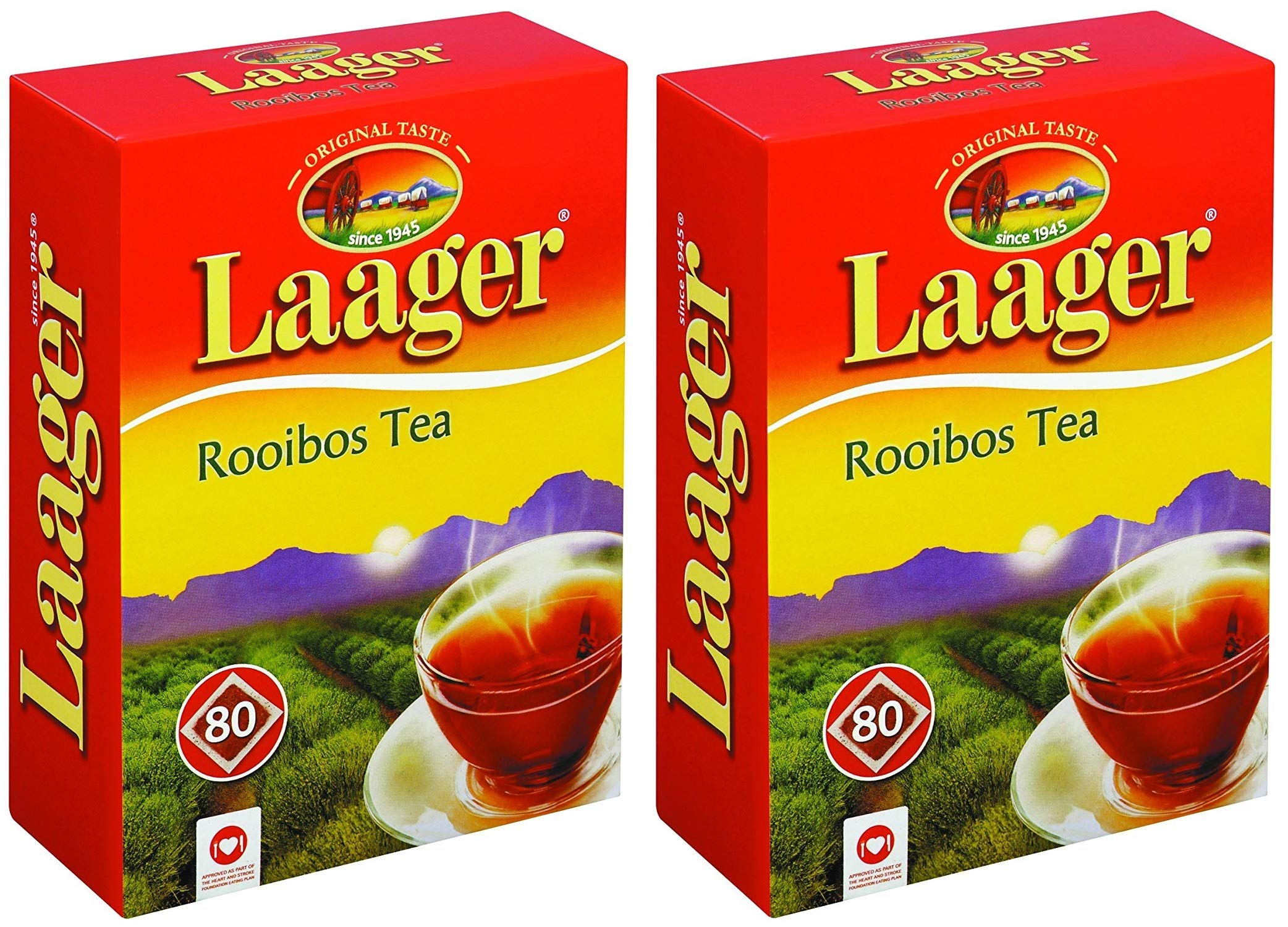 Laager South African Rooibos Tea - 80 count, 7 oz, 100% Natural Tea, Caffeine Free, Healthy and Pure, Red Bush Herbal Tea. Rich in Vitamins and Antioxidant (160 Count (Pack of 2))