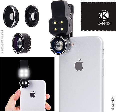 Juego de Lentes para cámara con luz LED para teléfonos celulares ...