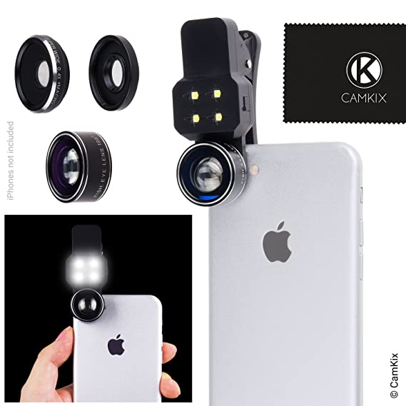 Camera Lens Kit with LED Light for Mobile Phone/Tablet - Universal -  Fisheye, Wide Angle and Macro Lens - Amazing Upgrade for Apple iPhone,  Samsung