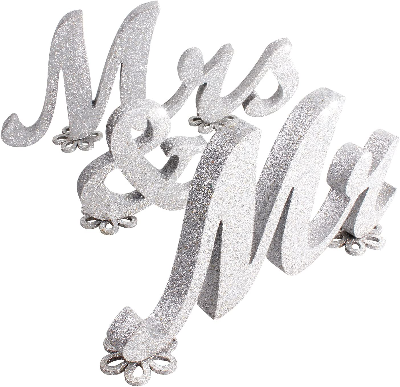 "SROOD 30"" x 6"" Mr and Mrs Sign Wedding Decorations Mr & Mrs Sign Sweetheart Wedding Table Decorations Wooden Letters Silver Glitter"