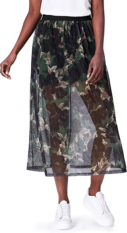 find. Chiffon Falda para Mujer, Multicolor (Black Mix), 44 (Talla ...