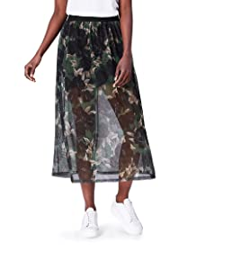 FIND Women's Skirt with Floral Chiffon Overlay and Inner Lining, Multicolour (Black Mix), 18 (Manufacturer Size: XX-Large)