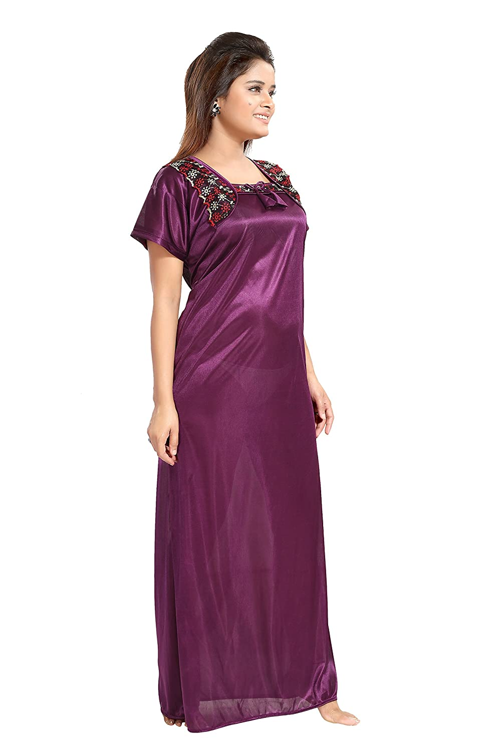 6a877ec296 TUCUTE Women Satin Night Gown Nightwear   Nighty (Wine) (Free Size) with  Lace Work D.No.1536  Amazon.in  Clothing   Accessories