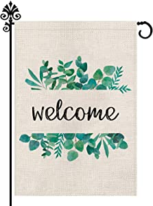 Summer Garden Flag Welcome Holiday Outdoor Decoration Vertical Double Sided Burlap Spring Farmhouse Decor 12.5 x 18 Inch