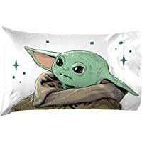 Jay Franco Star Wars The Mandalorian Curious Child 1 Pack Pillowcase - Double-Sided Kids Super Soft Bedding - Features The Child Baby Yoda (Official Star Wars Product)