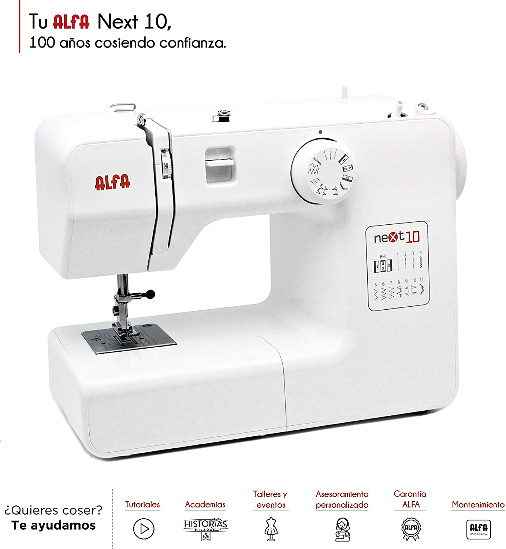 Alfa Next 10 Máquina de Coser, compacta. Blanca,: Amazon.es: Hogar