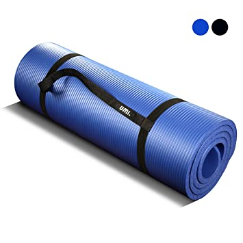 UMI. Essentials Colchonetas de Yoga Antideslizante Espesa para Pilates, Gimnasio Fitness or en Casa con Tirante