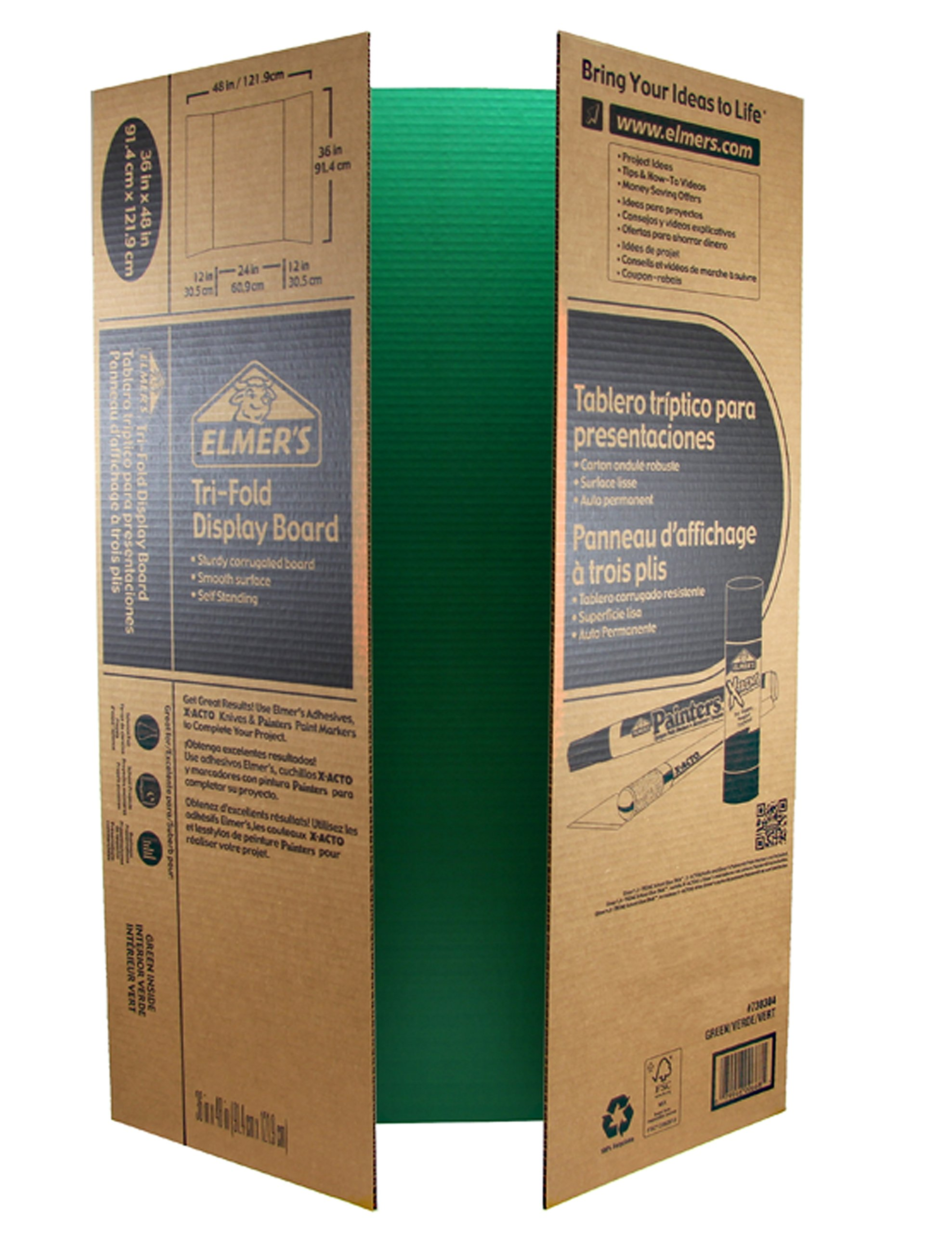 Elmer's Corrugated Tri-Fold Display Boards, 36 x 48 Inches, 1-Ply, Green Inside/Kraft, 6-Count (J730304)