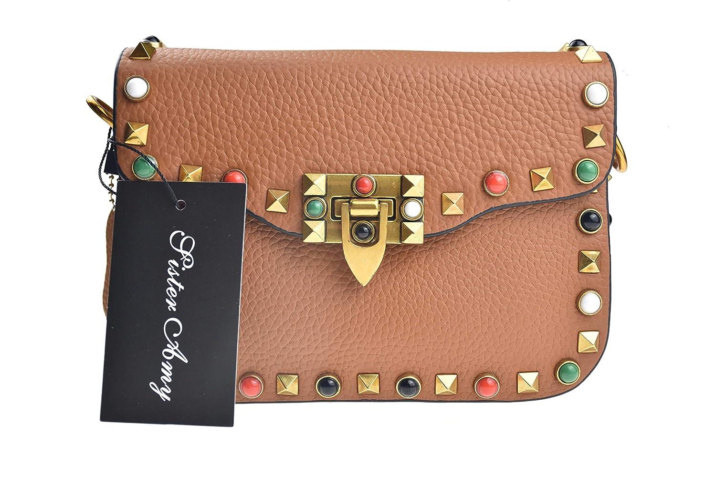 Sister Amy Womens Rivet Crossbody Square Genuine Leather Bag Shoulder Bags