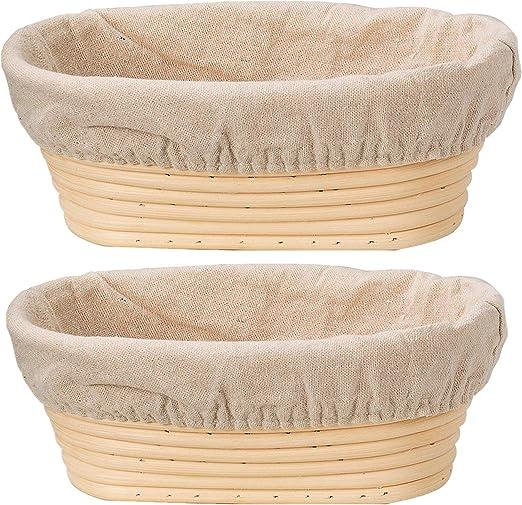 LIMMC Cesta de Mimbre a Prueba de conservaci/ón de los Alimentos Cesta Banneton Brotform Rising Rattan Basket Funda Bandeja de Fruta Ovalada Home Rattan Organizer