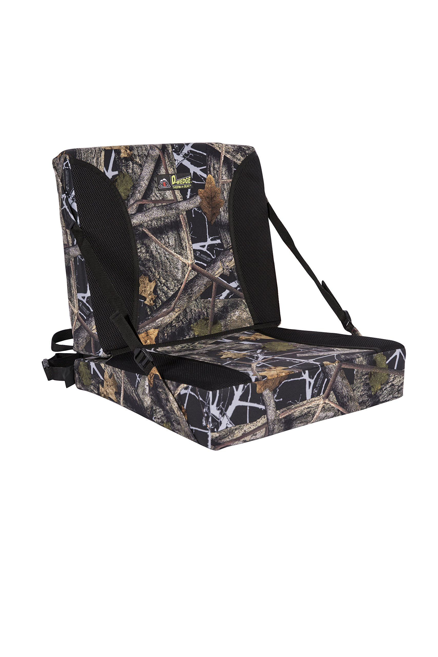 Northeast Products Supreme D-WEDGE ThermaSeat Self-Supporting Chair Hunting Seat Cushion, Invision Camo, Full Bottom: 17 x 18-Inch Wide x (2 x 4-Inch) - Full Back: 18 x 16-Inch Tall x (2 x 4-Inch)