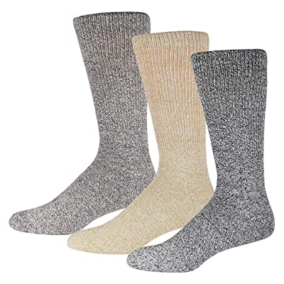 3 Pairs of Diabetic Cotton Crew Socks with Non Binding Top, Extra Soft Socks, Marled Heather Grey (Size 9-11): Health & Personal Care