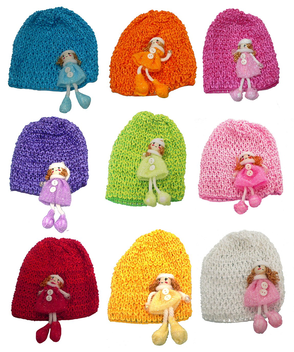 Bella Set of 9 Toddler Knitted Bonnets Baby Girl Hats U16250-0018-9