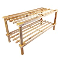 Wood Shoe Rack - 2 Tier Shelf Storage For Your Shoes Outdoors Or Indoors - Aussie Seller - Wooden Small Size Stackable - Easy To Assembly - No Tools Required