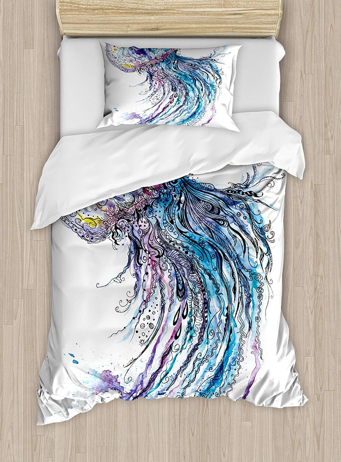 Twin XL Extra Long Bedding Set, Jellyfish Duvet Cover Set, Aqua Colors Art Ocean Animal Print Sketch Style Creative Sea Marine Theme, Include 1 Flat Sheet 1 Duvet Cover and 2 Pillow Cases