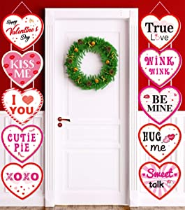 Valentines Day Decorations, Heart Banner Door Decor, Pink Red Romantic Conversation Porch Sign, Wall Decor Party Supplies for Valentines Day Décor