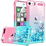 iPod Touch 7 Case, iPod Touch 6/Touch 5 Case with HD Screen Protector for Girls Women, Gritup Cute Clear Gradient Glitter Liq