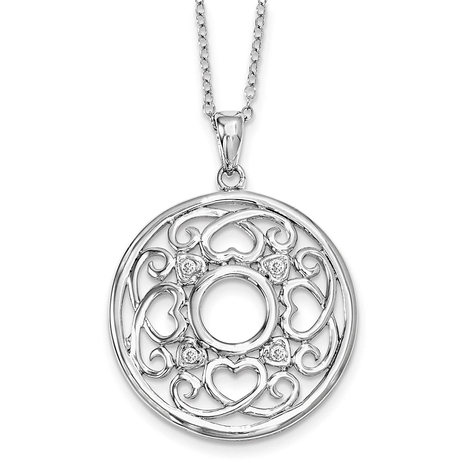Sterling Silver Polished CZ Wisdom Of Friendship Circle Pendant Necklace 18 by Sentimental Expressions