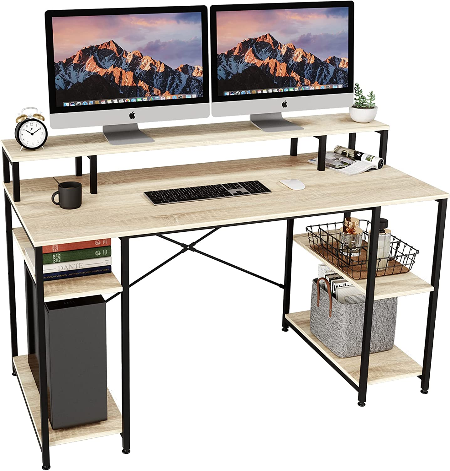 Bestier Computer Desk with Monitor Shelf, 55 inches Home Office Desk with Open Storage Shelves, Writing Gaming Study Table Workstation for Small Space, Oak