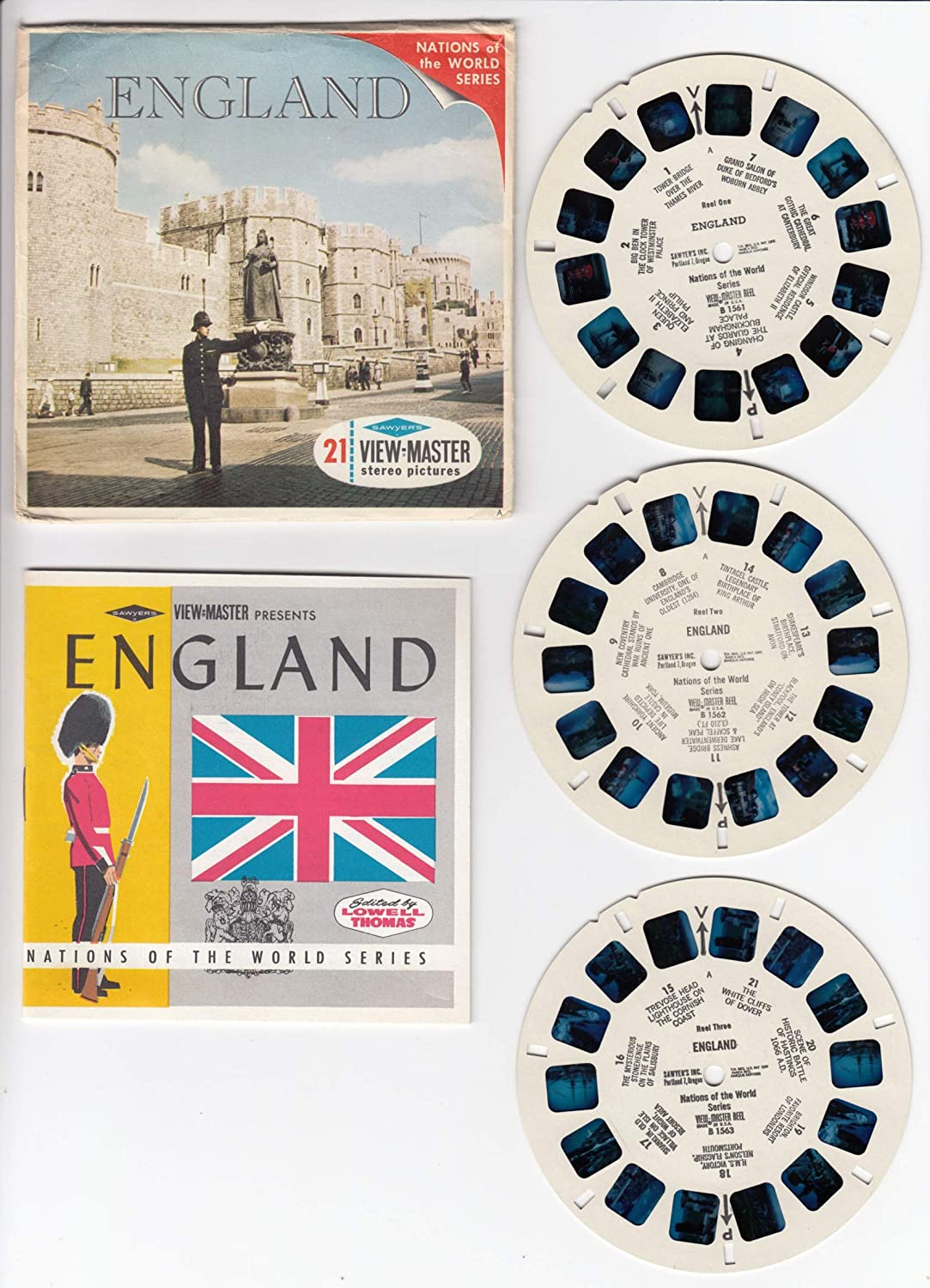 England Edited Lowell Thomas Set of 3 Vintage Viewmaster Reels Cover Booklet Packet #B-156