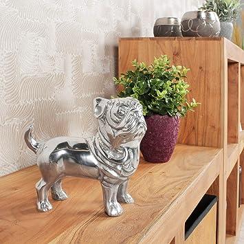 Finebuy Design Deko Hund Bulldogge Aluminium Silbern 19 X 19 X 8 Cm