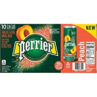 Perrier Carbonated Natural Spring Water with Natural Peach Flavor Slim Can, 10 x 250 ml