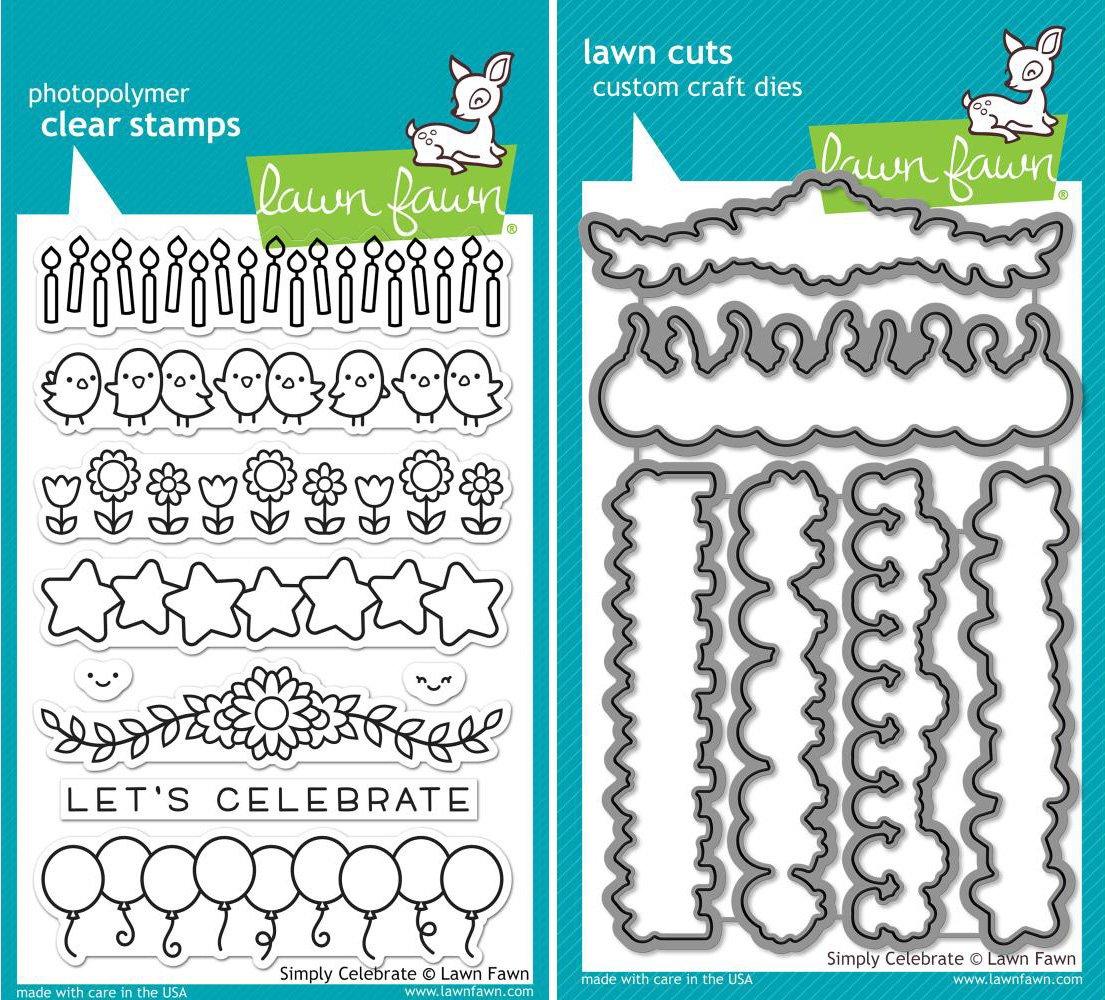 Lawn Fawn - Simply Celebrate - Stamp and Die Set - 2 Item Bundle