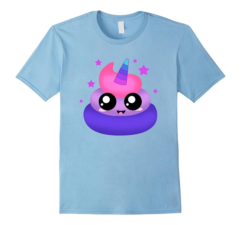 Unicorn Emoji Poop T Shirt Novelty Funny for Men Women Kids-CD