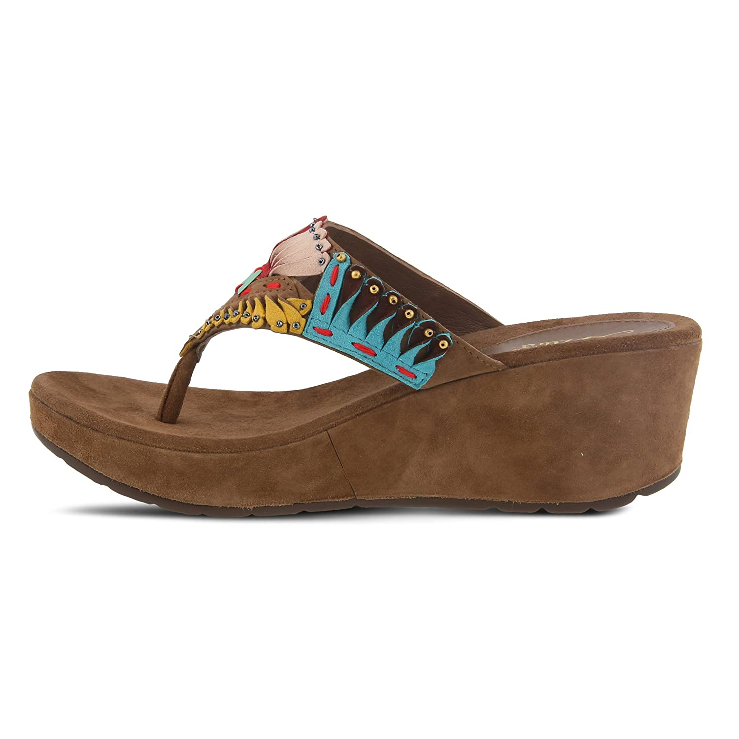 Azura Headress Slide Sandal Suede Uppers Colors Black Multi and Taupe