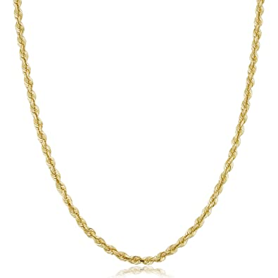 e929fe8659b7d Kooljewelry Mens Solid 10k Yellow Gold Rope Chain Necklace (4mm, 20 ...