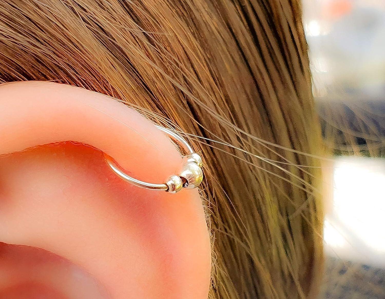 20G Black Bead Cartilage Hoop Piercing 8mm Gold Filled Helix Hoop Earring Small Gold Hoop Earring