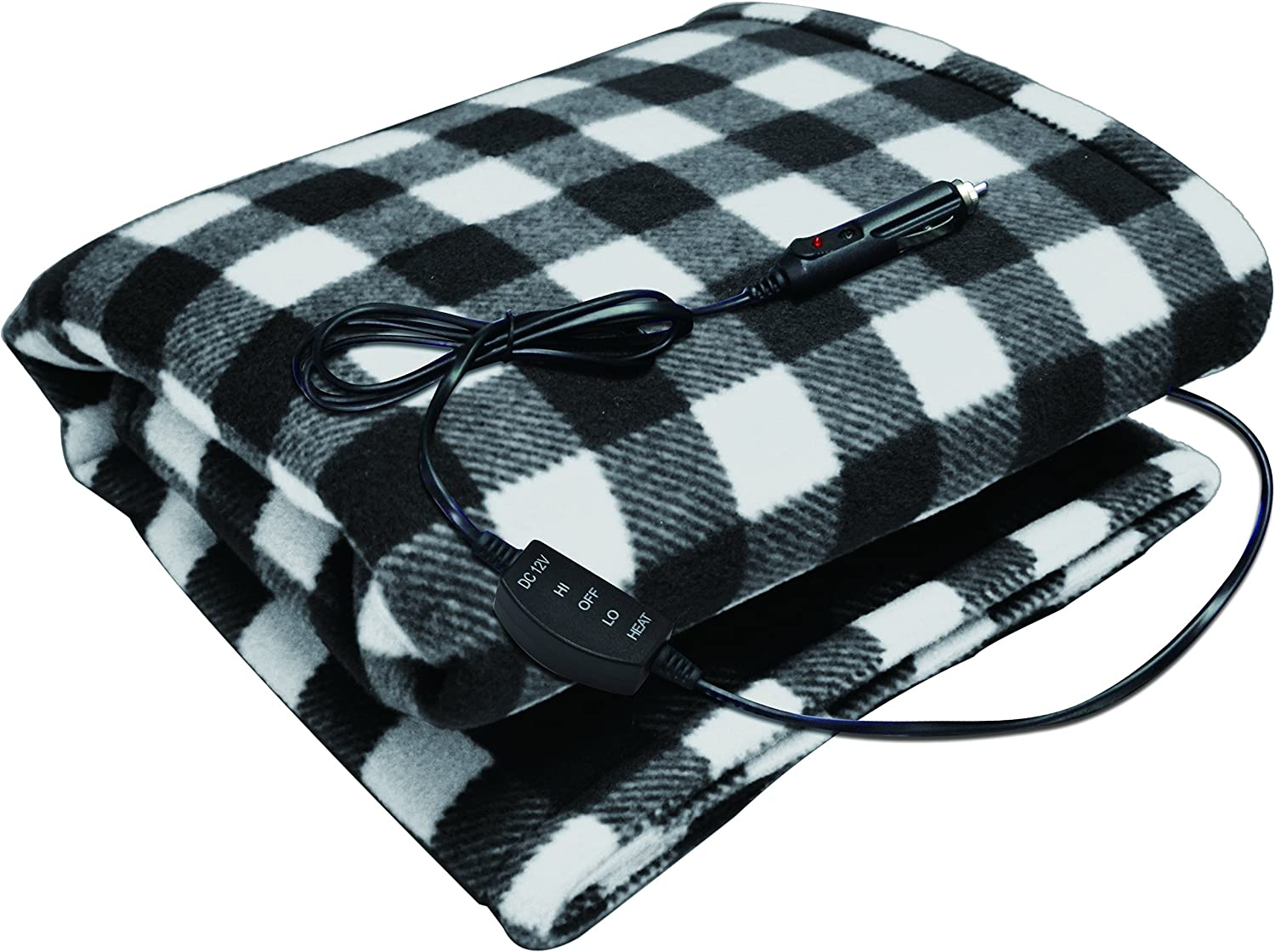 Sojoy 12V Heated Travel Electric Blanket for Car Truck Boats or RV with High/Low Temp control Checkered (Black & White)