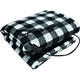 """Sojoy 12V Heated Travel Electric Blanket for Car, Truck,Boats or RV with High/Low Temp control Checkered Black and White(60""""x39"""")"""