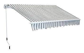 Markise Gelenkarmmarkise 2 x 1,5m anthrazit Alu Handkurbel Sonnenschutz