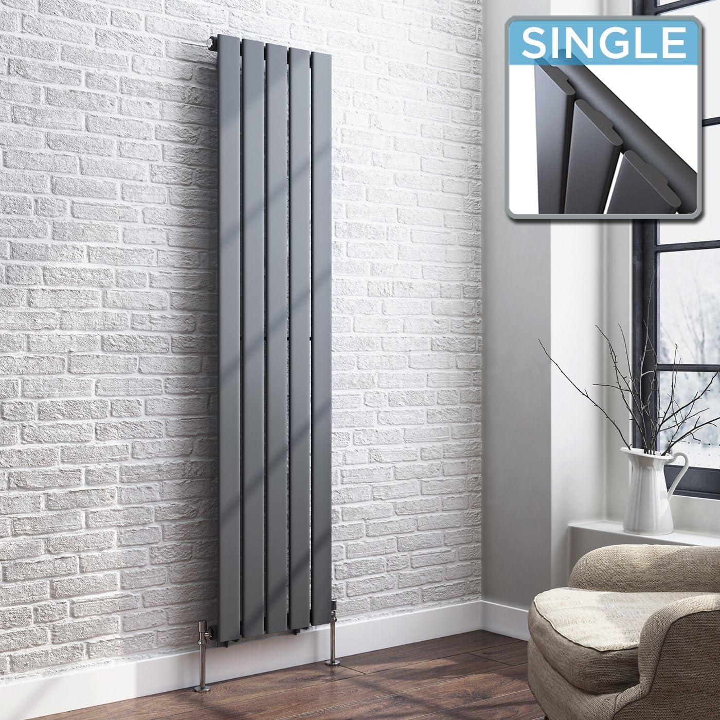 iBathUK | 1600 x 360 Vertical Column Designer Radiator Anthracite Single Flat Panel
