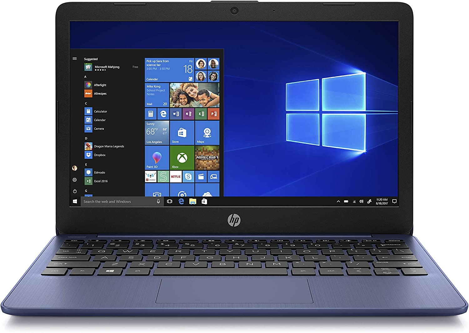 HP Stream 11-Inch Laptop, Intel X5-E8000 Processor, 4 GB RAM, 32 GB eMMC, Windows 10 Home in S Mode with Office 365 Personal and 1 TB Onedrive Storage for One Year (11-ak1010nr, Royal Blue) (Renewed)